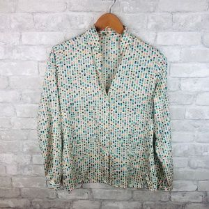 Vintage Geometric Print Silk Button Down Blouse